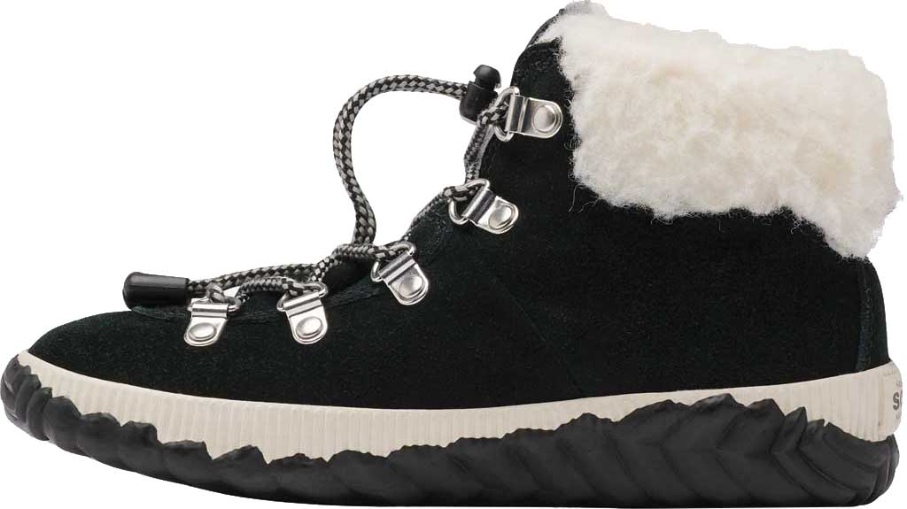 Girls' Sorel Out N About Conquest Waterproof Boot, Black Waterproof Suede/Faux Fur, large, image 3