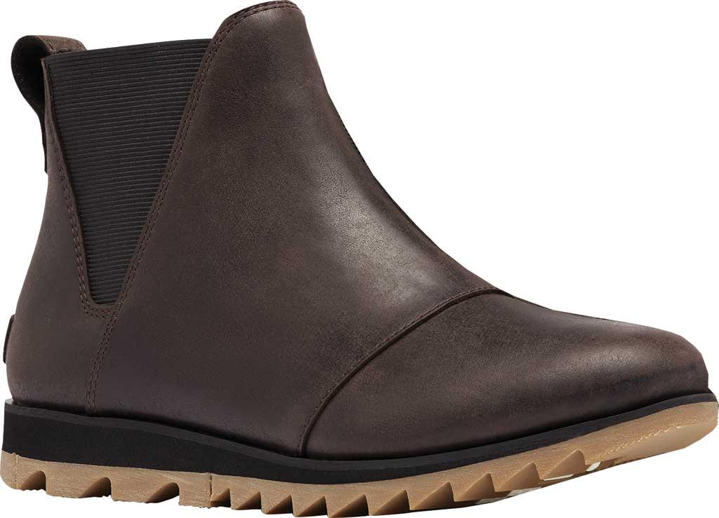 Women's Sorel Harlow Chelsea Boot, Blackened Brown Waterproof Full Grain Leather/Gore, large, image 1