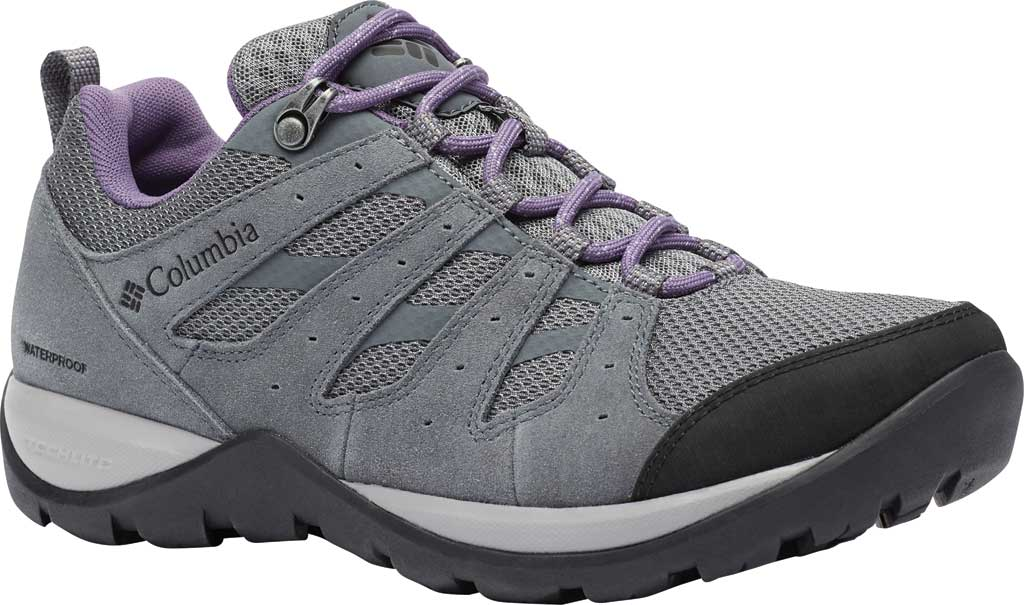 Women's Columbia Redmond V2 Waterproof Hiking Shoe, Ti Grey Steel/Plum Purple, large, image 1