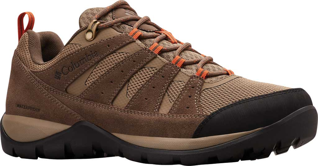 Men's Columbia Redmond V2 Waterproof Hiking Shoe, Pebble/Desert Sun, large, image 1