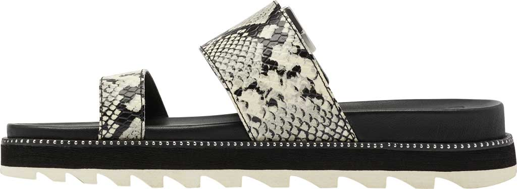 Women's Sorel Roaming Buckle Slide, Black/Snake Print Full Grain Leather, large, image 3