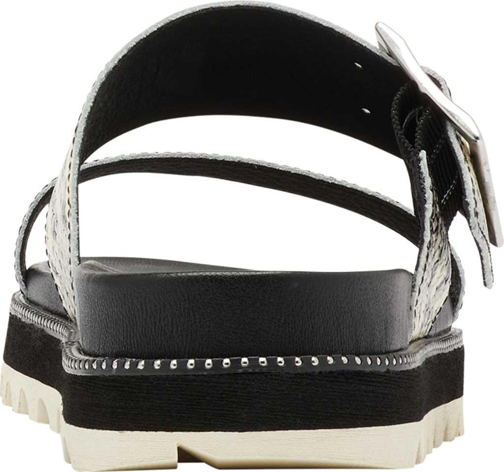Women's Sorel Roaming Buckle Slide, Black/Snake Print Full Grain Leather, large, image 4