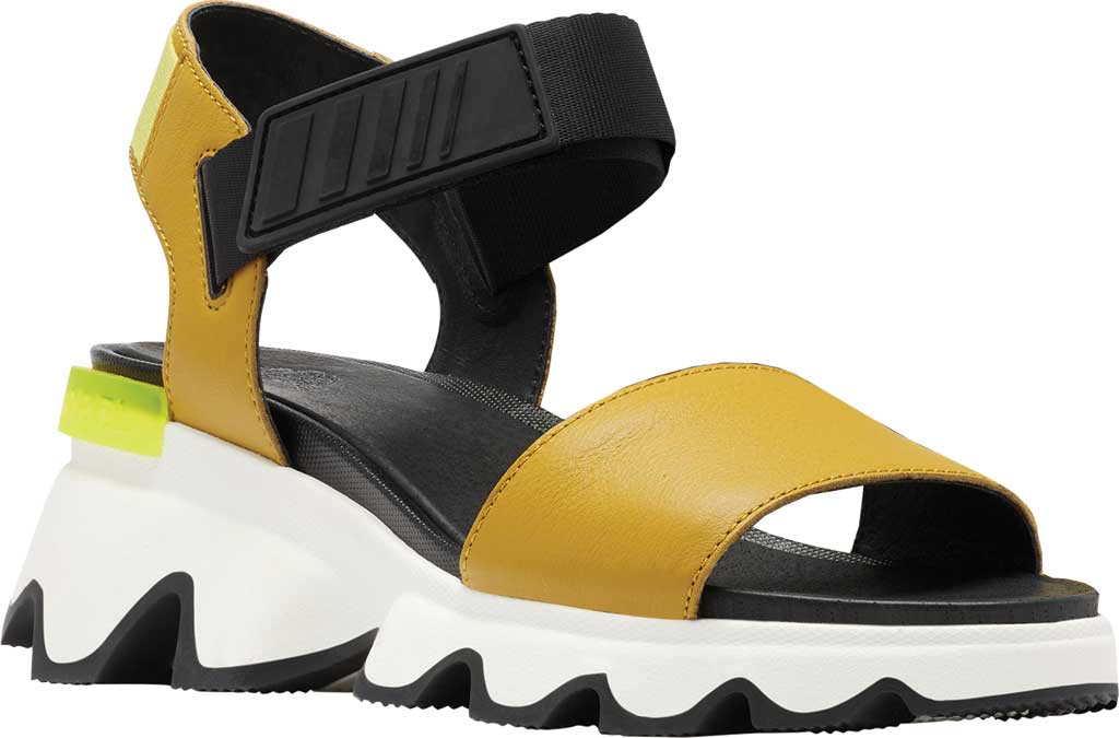 Women's Sorel Kinetic Active Sandal, Dioxide Gold Full Grain Leather/Textile, large, image 1