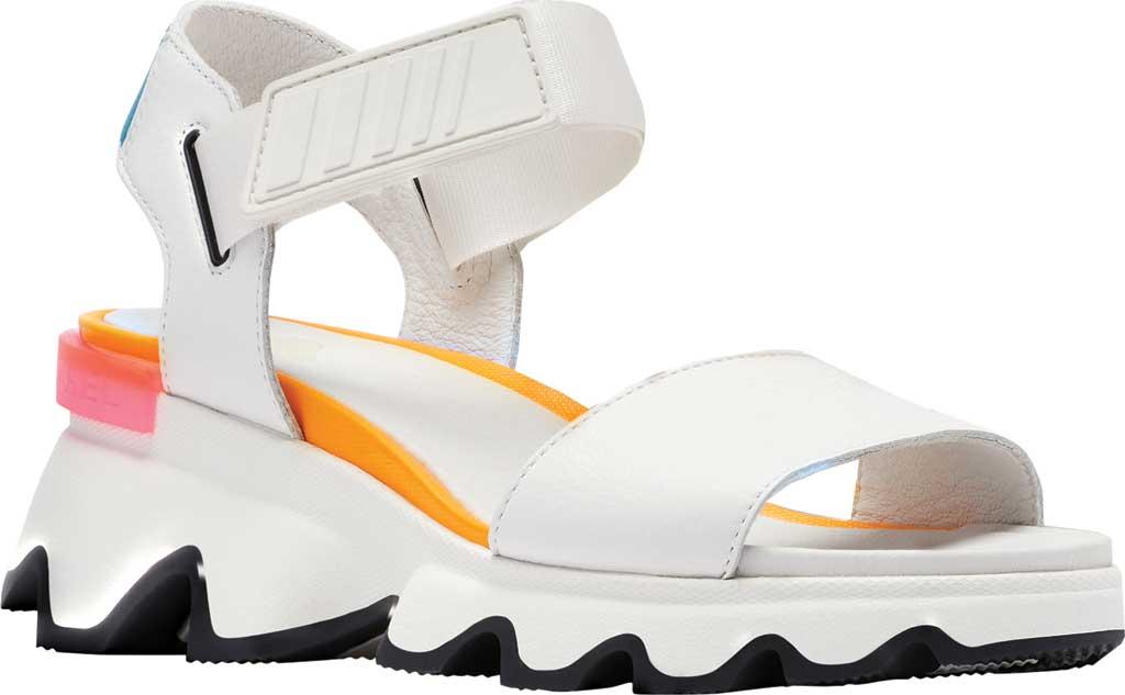 Women's Sorel Kinetic Active Sandal, Sea Salt/Pink Full Grain Leather/Textile, large, image 1