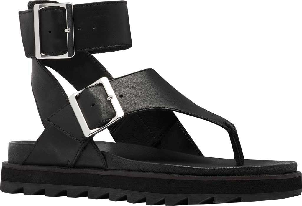 Women's Sorel Roaming Thong Sandal, Black/Black Full Grain Leather, large, image 1
