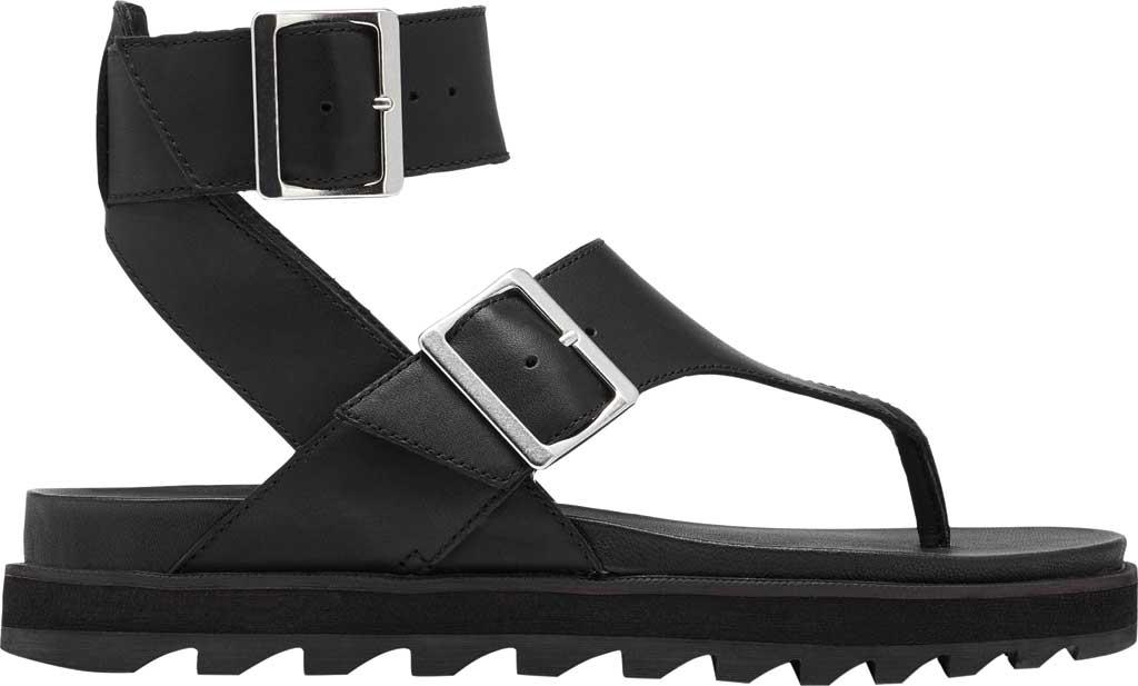 Women's Sorel Roaming Thong Sandal, Black/Black Full Grain Leather, large, image 2