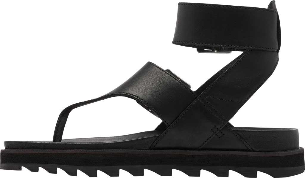 Women's Sorel Roaming Thong Sandal, Black/Black Full Grain Leather, large, image 3