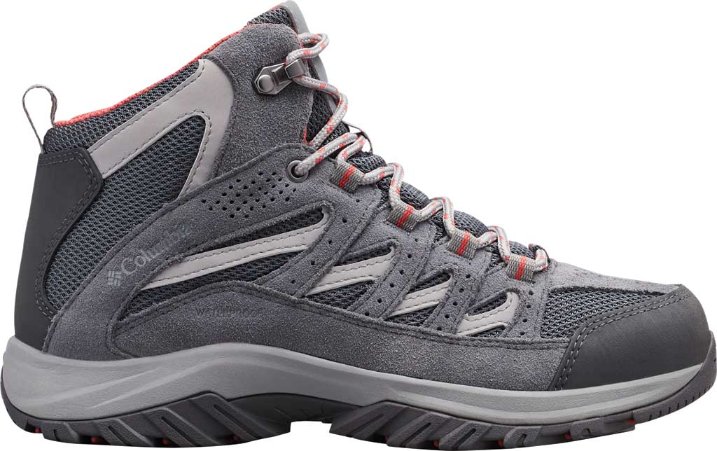 Women's Columbia Crestwood Mid Waterproof Hiking Boot, Graphite/Daredevil, large, image 2