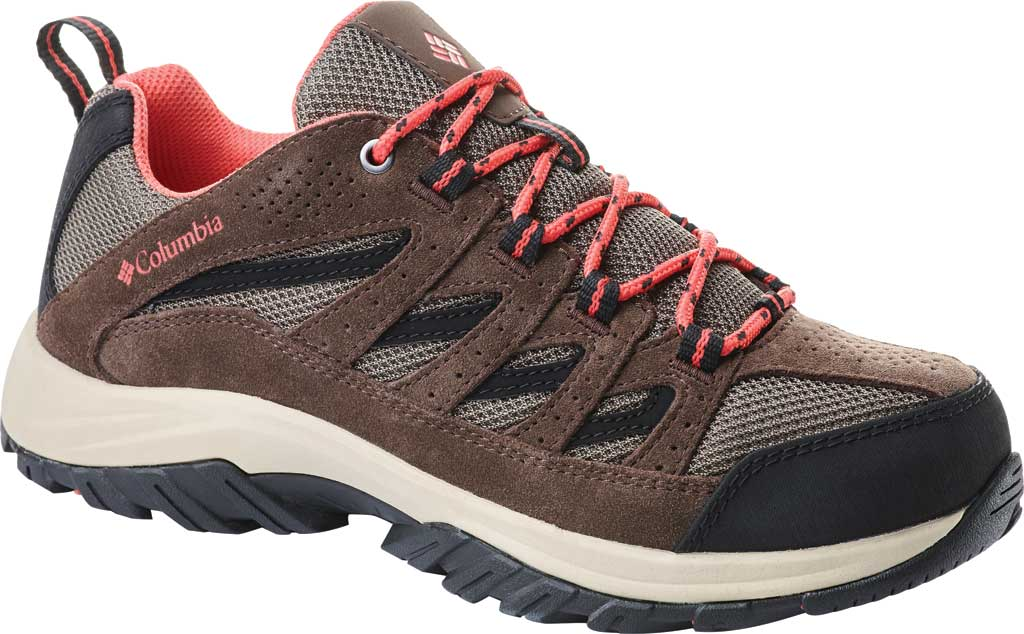 Women's Columbia Crestwood Hiking Shoe, Mud/Red Coral, large, image 1