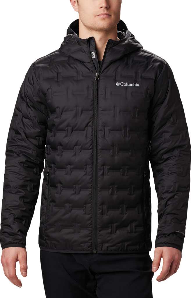 Men's Columbia Delta Ridge Down Hooded Winter Jacket, Black, large, image 1
