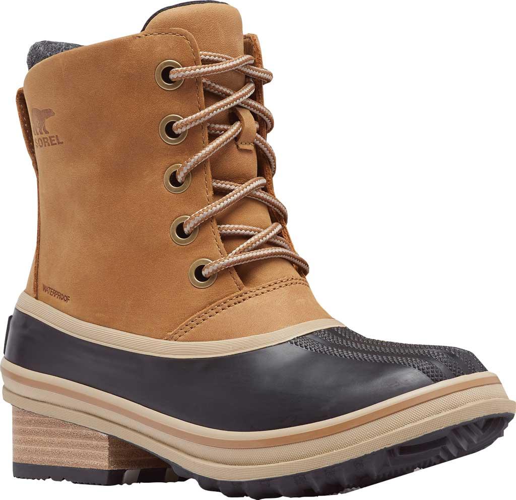 Women's Sorel Slimpack III Lace Waterproof Duck Boot, Elk Waterproof Full Grain Leather/Wool, large, image 1