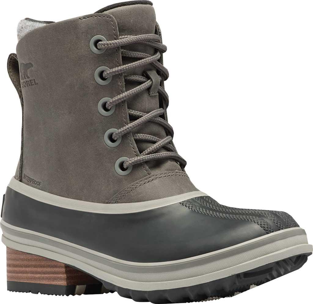 Women's Sorel Slimpack III Lace Waterproof Duck Boot, Quarry Waterproof Full Grain Leather/Wool, large, image 1