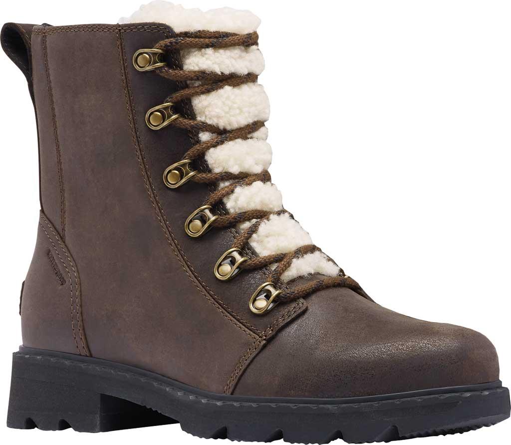 Women's Sorel Lennox Lace Cozy Waterproof Boot, Blackened Brown Waterproof Full Grain Leather, large, image 1