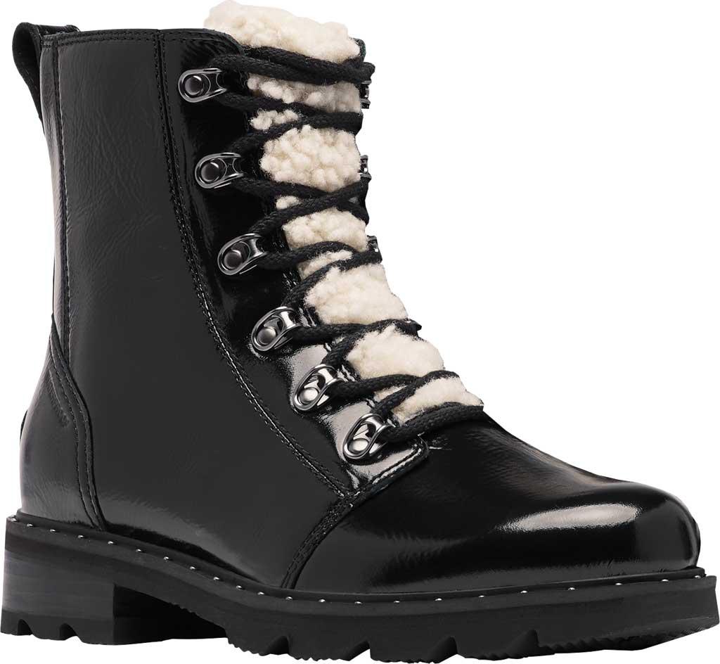 Women's Sorel Lennox Lace Cozy Waterproof Boot, Black Waterproof Patent Leather/Shearling, large, image 1