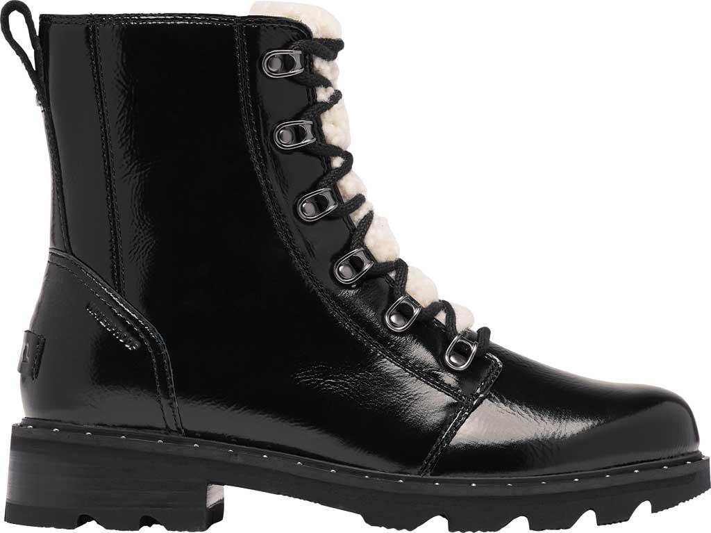 Women's Sorel Lennox Lace Cozy Waterproof Boot, Black Waterproof Patent Leather/Shearling, large, image 2