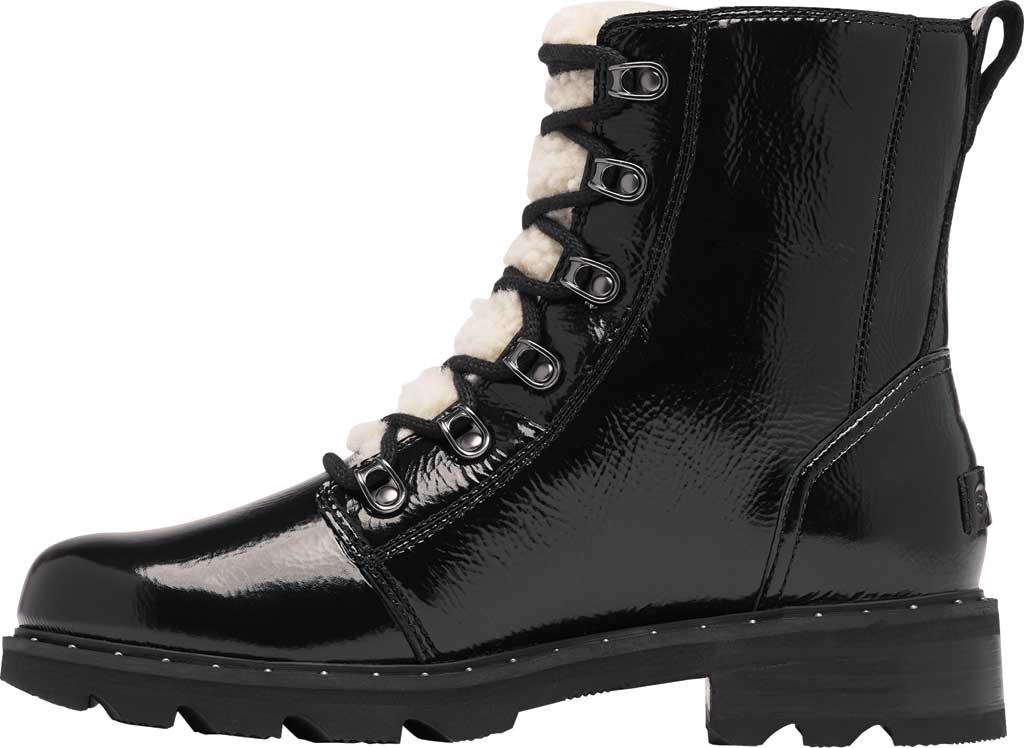 Women's Sorel Lennox Lace Cozy Waterproof Boot, Black Waterproof Patent Leather/Shearling, large, image 3