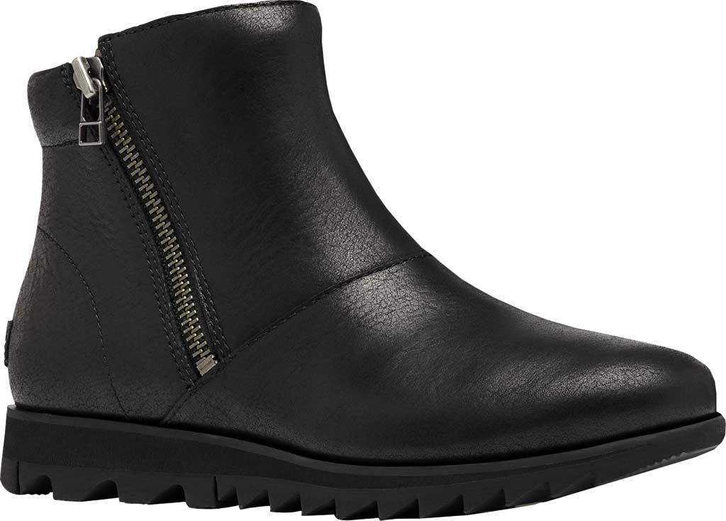 Women's Sorel Harlow Zip Waterproof Boot, Black Waterproof Full Grain Leather, large, image 1