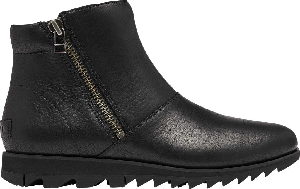 Women's Sorel Harlow Zip Waterproof Boot, Black Waterproof Full Grain Leather, large, image 2