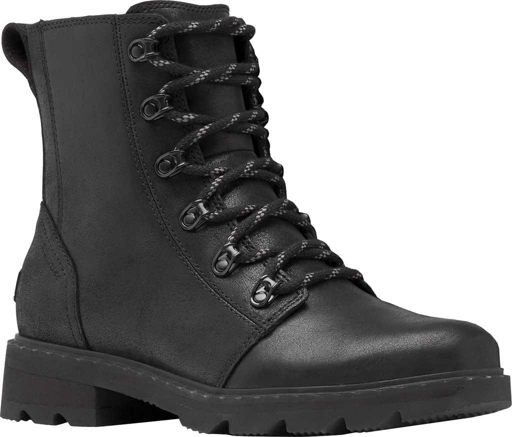 Women's Sorel Lennox Lace Waterproof Boot, Black Waterproof Full Grain Leather, large, image 1