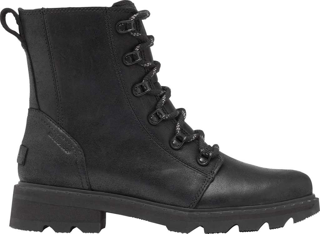 Women's Sorel Lennox Lace Waterproof Boot, Black Waterproof Full Grain Leather, large, image 2