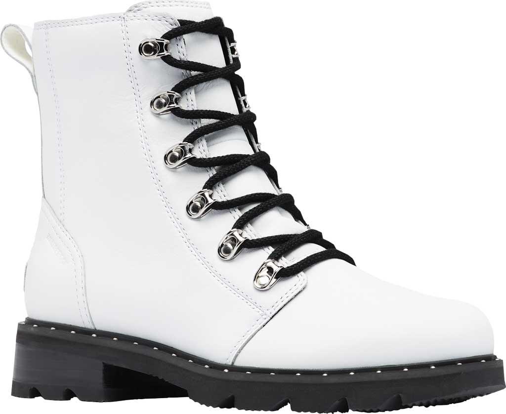 Women's Sorel Lennox Lace Waterproof Boot, White Waterproof Full Grain Leather, large, image 1
