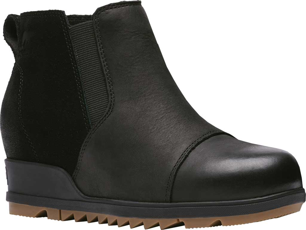 Women's Sorel Evie Pull On Waterproof Boot, On-Black Waterproof Full Grain Leather/Suede, large, image 1