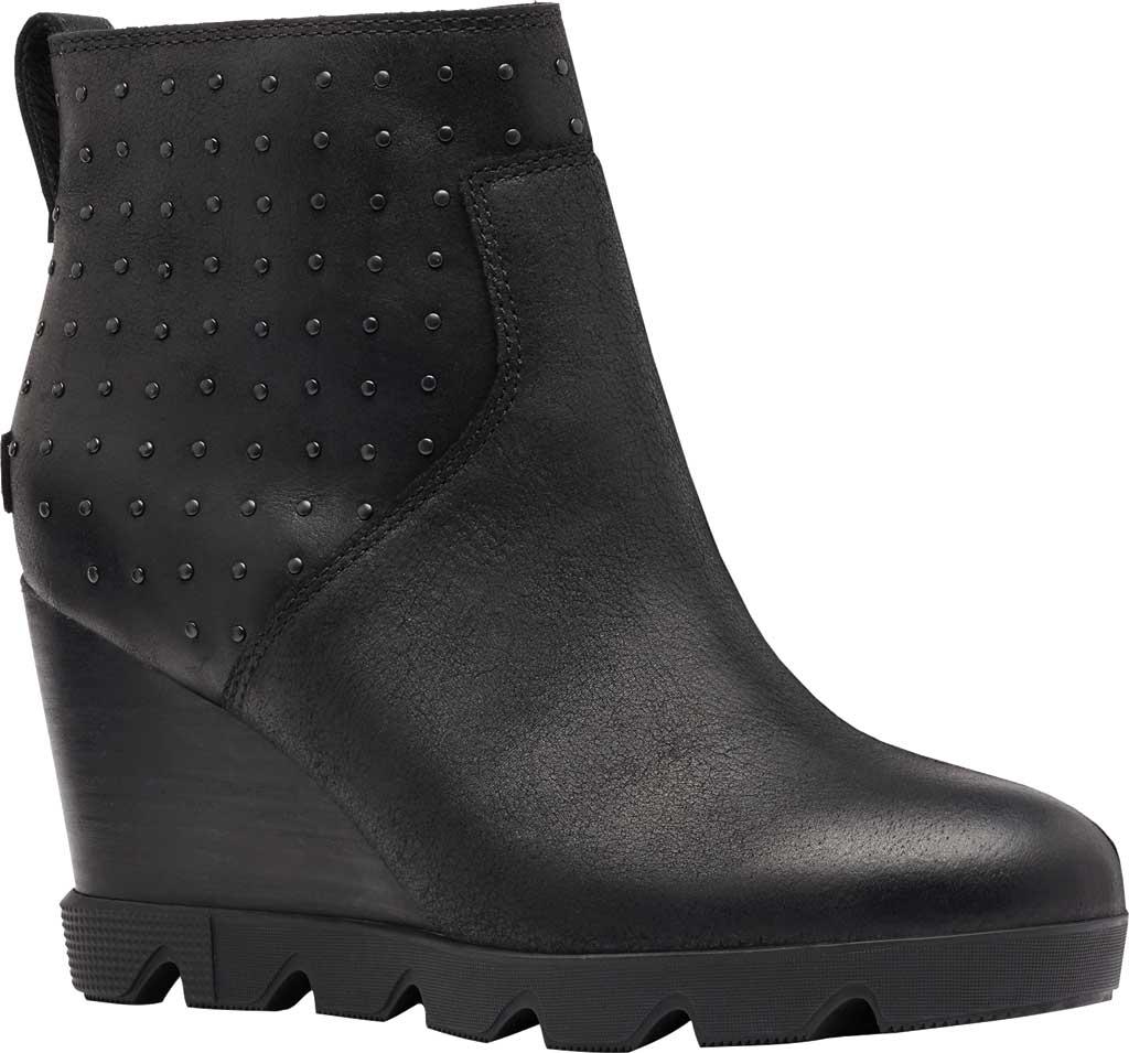Women's Sorel Joan Uptown Stud Waterproof Wedge Bootie, Black Waterproof Full Grain Leather, large, image 1