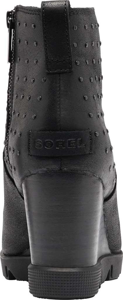 Women's Sorel Joan Uptown Stud Waterproof Wedge Bootie, Black Waterproof Full Grain Leather, large, image 4