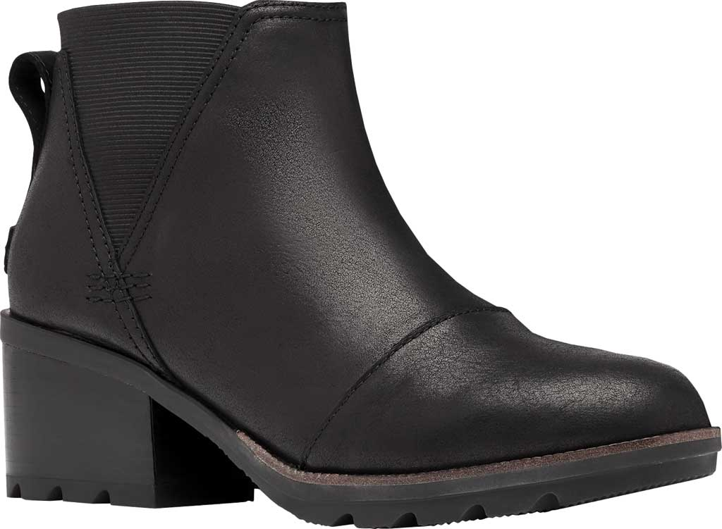 Women's Sorel Cate Chelsea Waterproof Boot, Black Waterproof Full Grain Leather/Gore, large, image 1