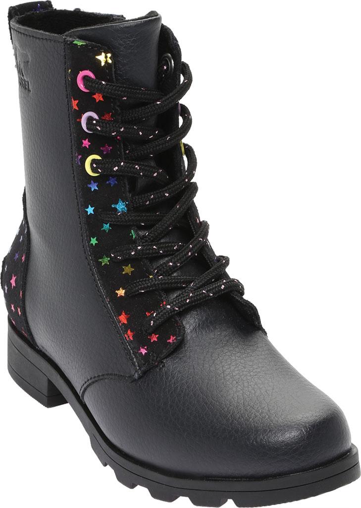 Girls' Sorel Youth Emelie Short Lace Waterproof Boot, Black Waterproof Suede/Foil Stars, large, image 1