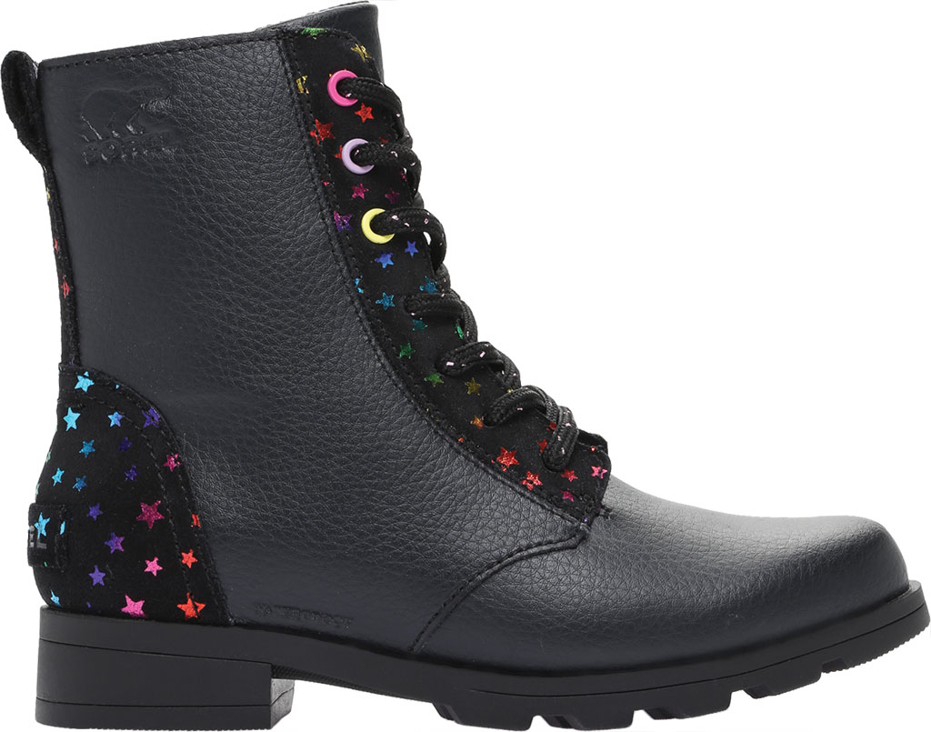 Girls' Sorel Youth Emelie Short Lace Waterproof Boot, Black Waterproof Suede/Foil Stars, large, image 2