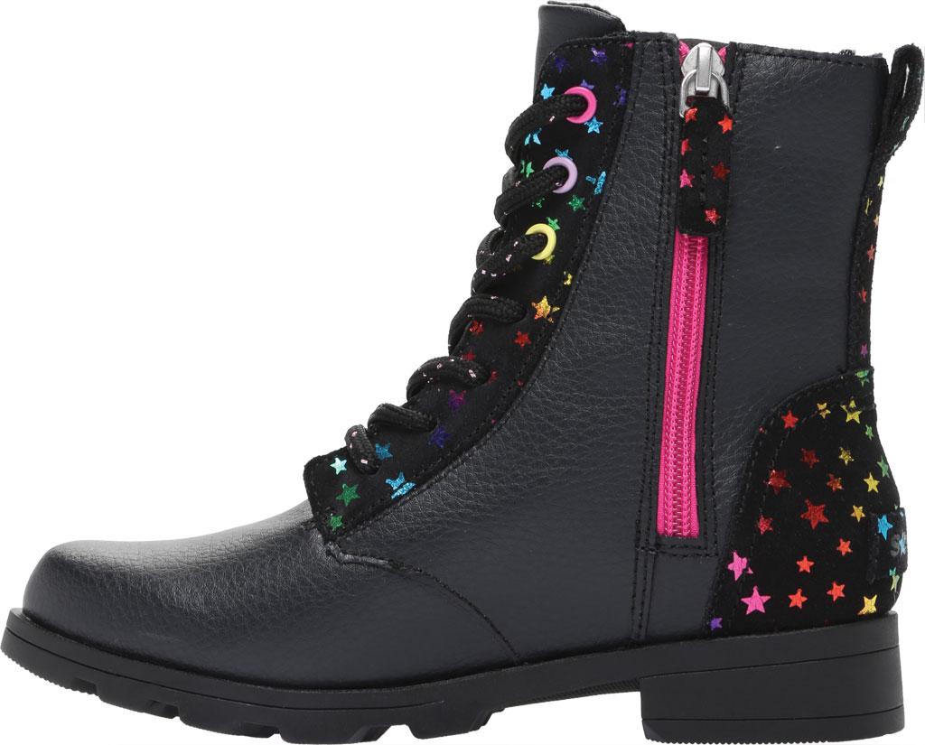 Girls' Sorel Youth Emelie Short Lace Waterproof Boot, Black Waterproof Suede/Foil Stars, large, image 3