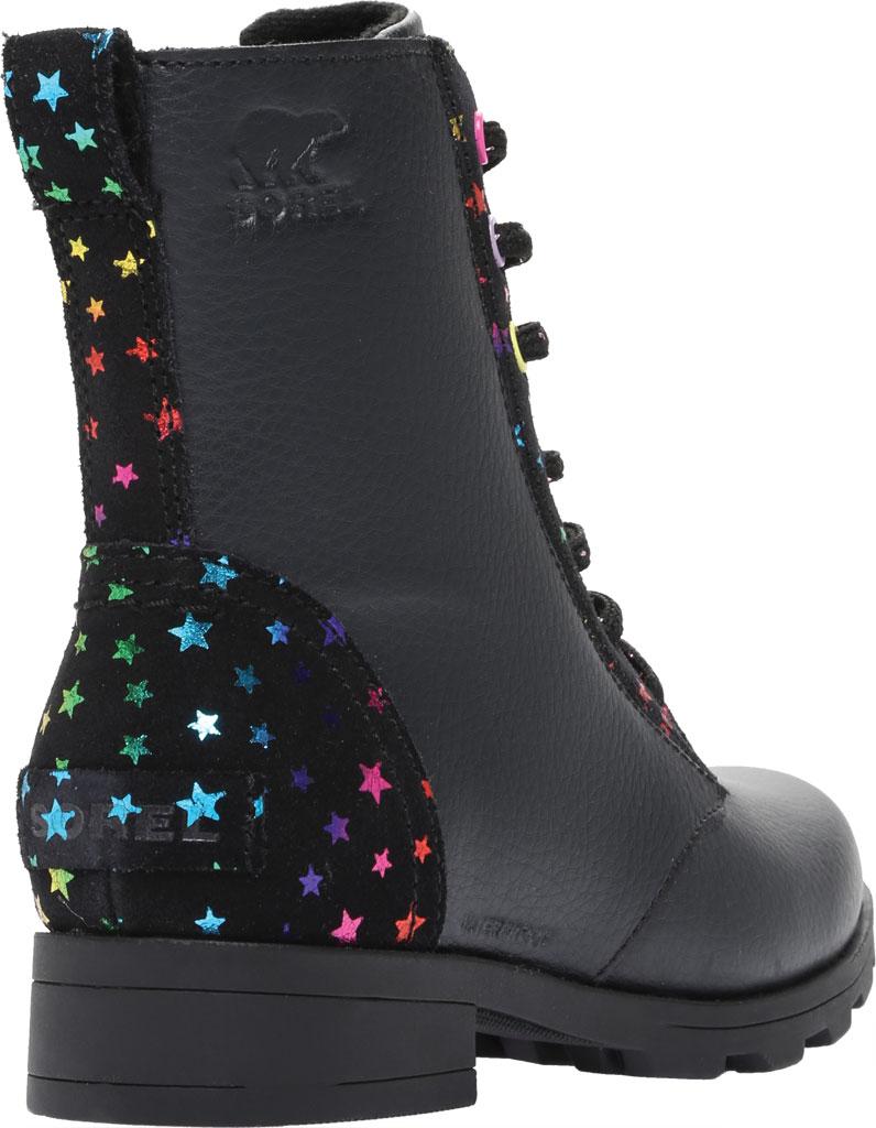 Girls' Sorel Youth Emelie Short Lace Waterproof Boot, Black Waterproof Suede/Foil Stars, large, image 4
