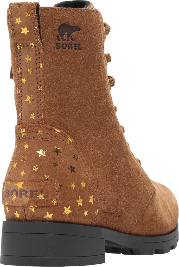 Girls' Sorel Youth Emelie Short Lace Waterproof Boot, Velvet Tan Waterproof Suede/Foil Stars, large, image 4