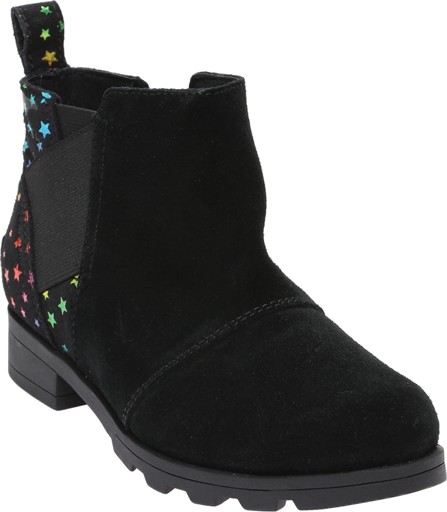 Girls' Sorel Youth Emelie Chelsea Waterproof Boot, Black Waterproof Suede/Felt, large, image 1