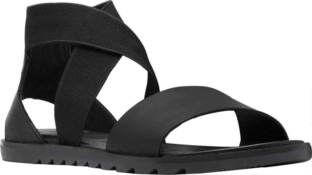 Women's Sorel Ella II Flat Sandal, Black Full Grain Leather, large, image 1