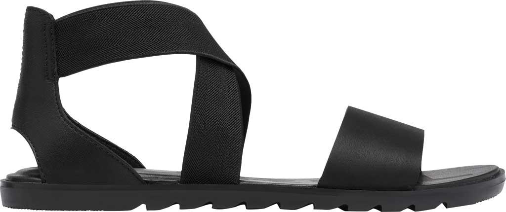 Women's Sorel Ella II Flat Sandal, Black Full Grain Leather, large, image 2