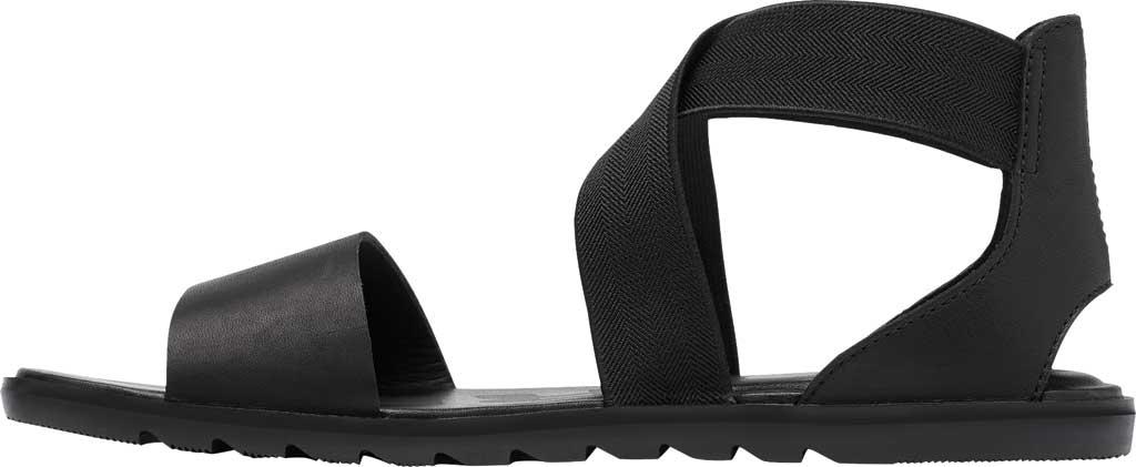 Women's Sorel Ella II Flat Sandal, Black Full Grain Leather, large, image 3