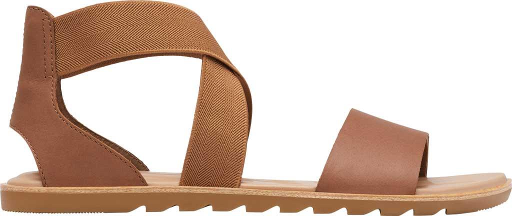 Women's Sorel Ella II Flat Sandal, Velvet Tan Full Grain Leather, large, image 2