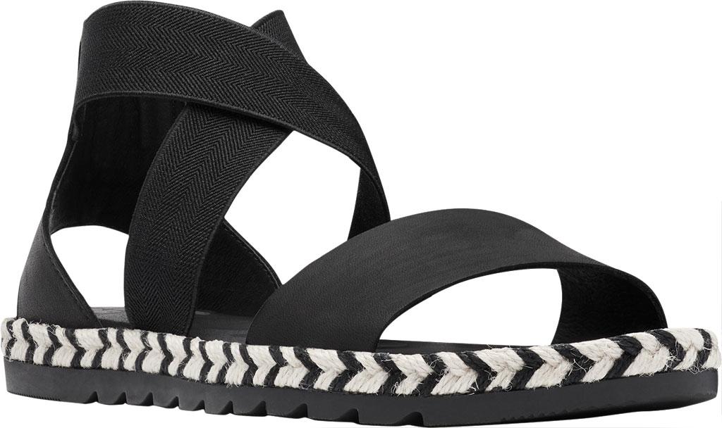 Women's Sorel Ella II Flat Sandal, Black Jute Full Grain Leather, large, image 1