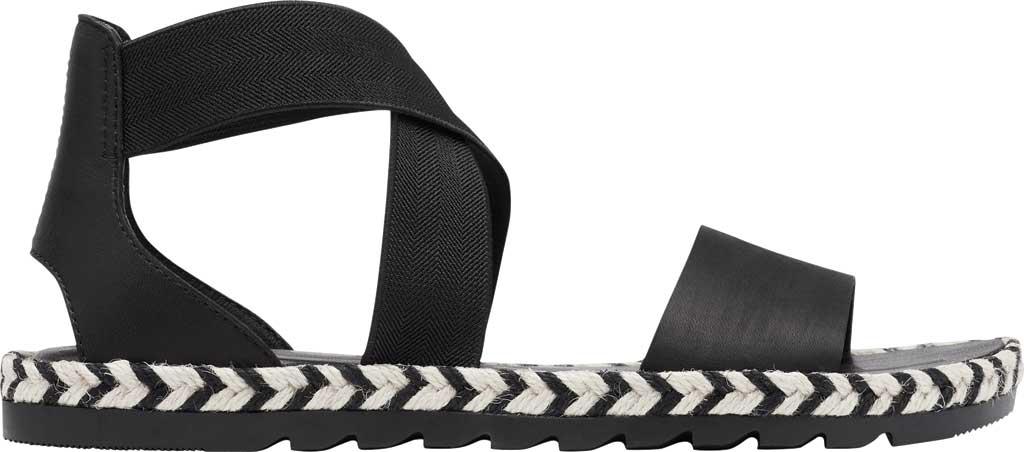 Women's Sorel Ella II Flat Sandal, Black Jute Full Grain Leather, large, image 2