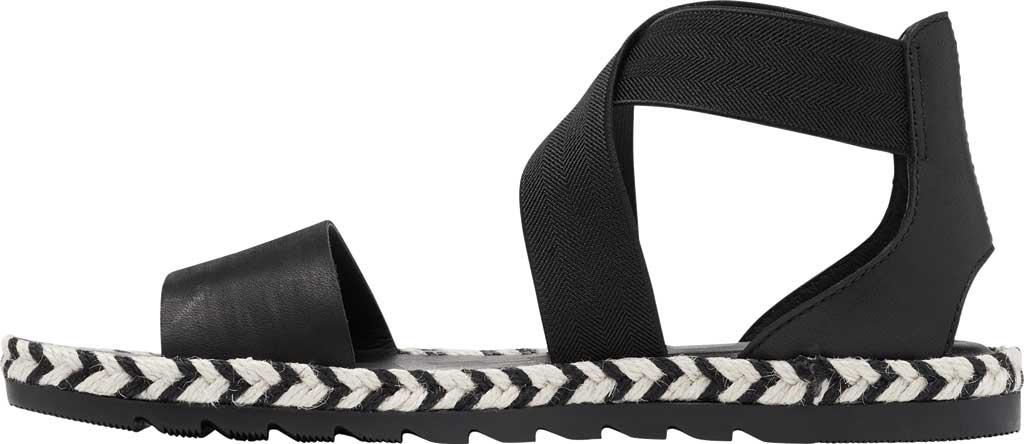 Women's Sorel Ella II Flat Sandal, Black Jute Full Grain Leather, large, image 3