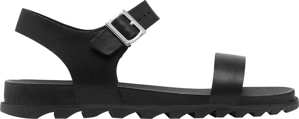 Women's Sorel Roaming Decon Ankle Strap Flat Sandal, Black Full Grain Leather, large, image 2