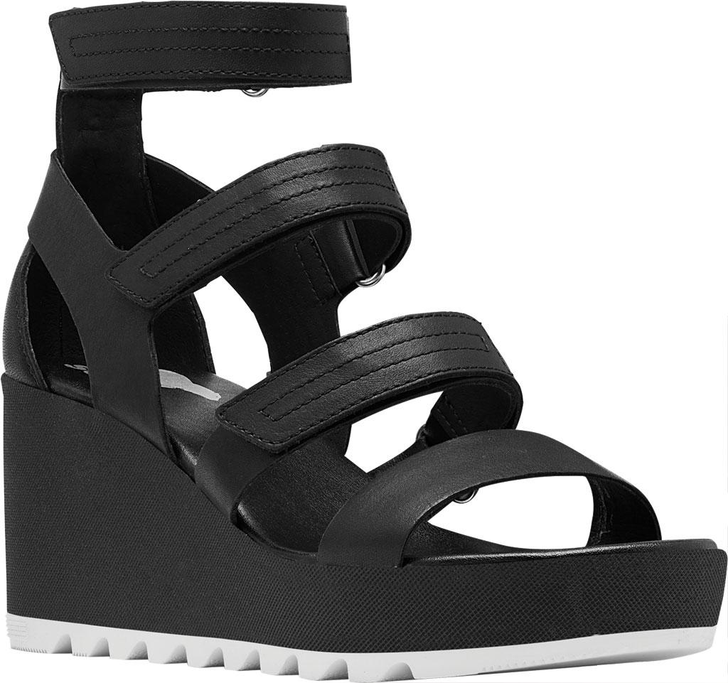 Women's Sorel Cameron Wedge Strappy Sandal, Black Full Grain Leather, large, image 1