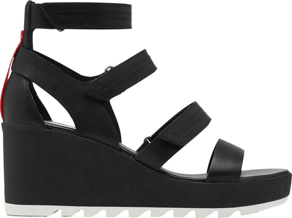 Women's Sorel Cameron Wedge Strappy Sandal, Black Full Grain Leather, large, image 2