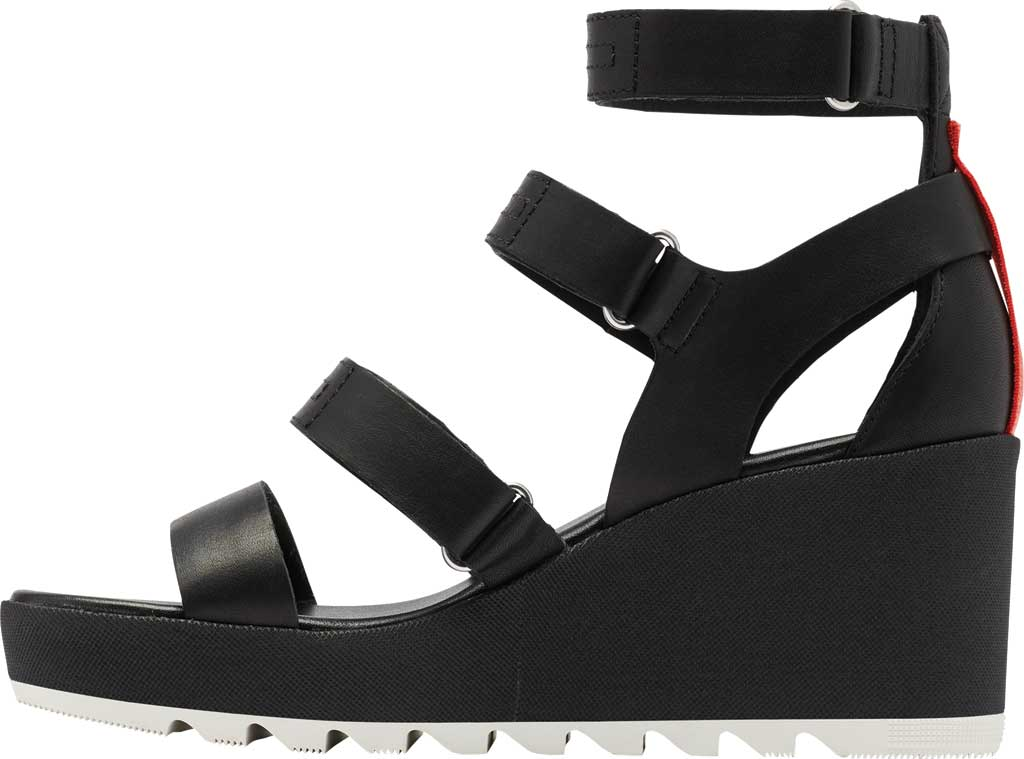 Women's Sorel Cameron Wedge Strappy Sandal, Black Full Grain Leather, large, image 3
