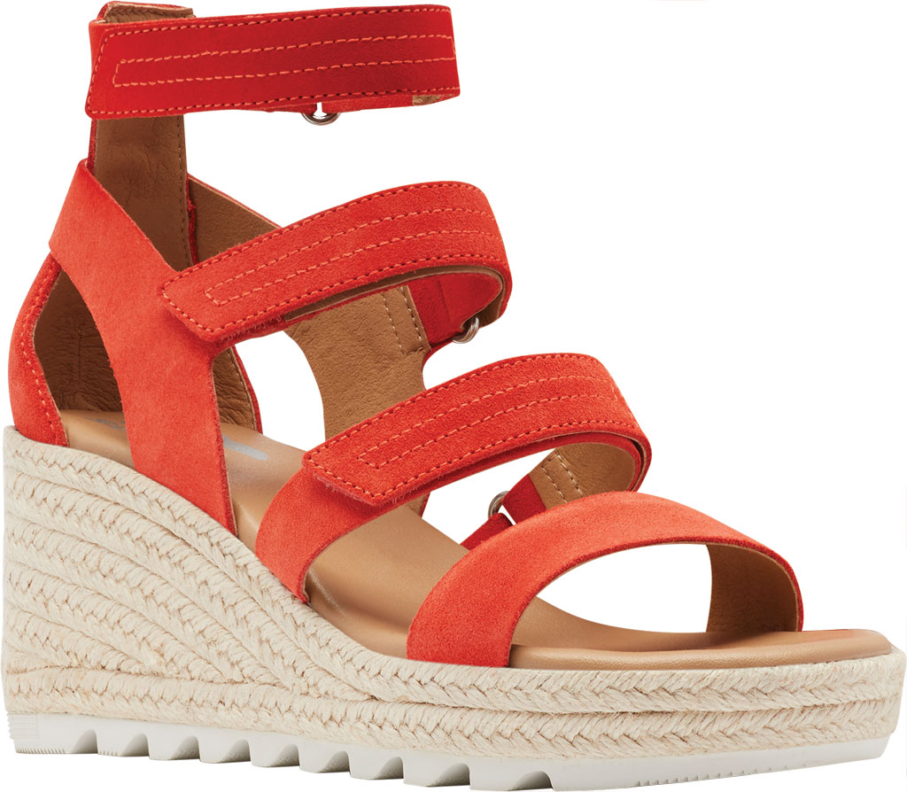 Women's Sorel Cameron Wedge Strappy Sandal, Signal Red Suede, large, image 1