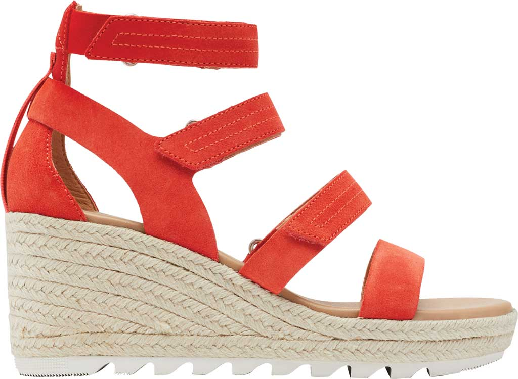 Women's Sorel Cameron Wedge Strappy Sandal, Signal Red Suede, large, image 2