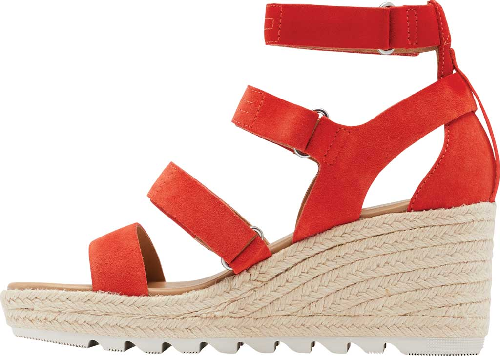 Women's Sorel Cameron Wedge Strappy Sandal, Signal Red Suede, large, image 3