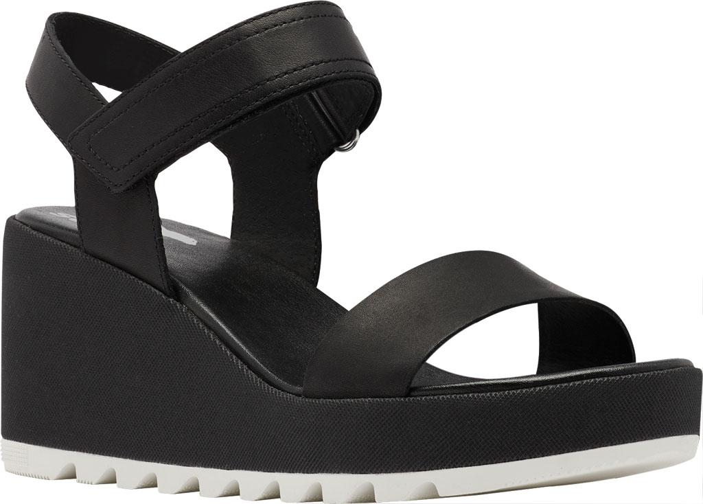 Women's Sorel Cameron Wedge Ankle Strap Sandal, Black Full Grain Leather, large, image 1